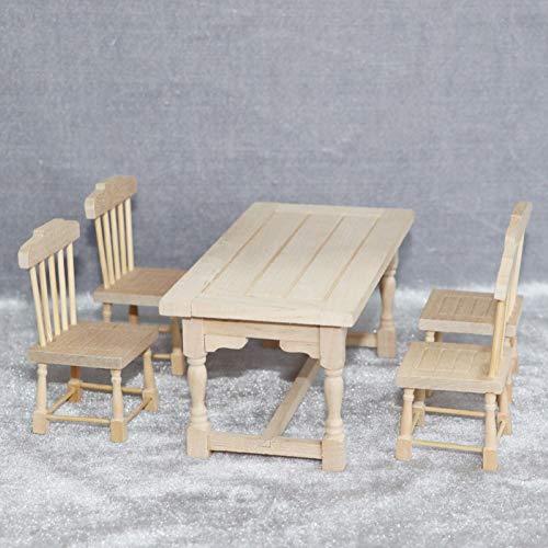 xinxinmaoyan Puppenhaus Möbel Set, 5 Stück Mini Holz Esstisch Stuhl Möbel Modell 1/12 Puppenhaus Miniaturen Zubehör Für Kinder Spielzeug Geburtstagsgeschenk Holz
