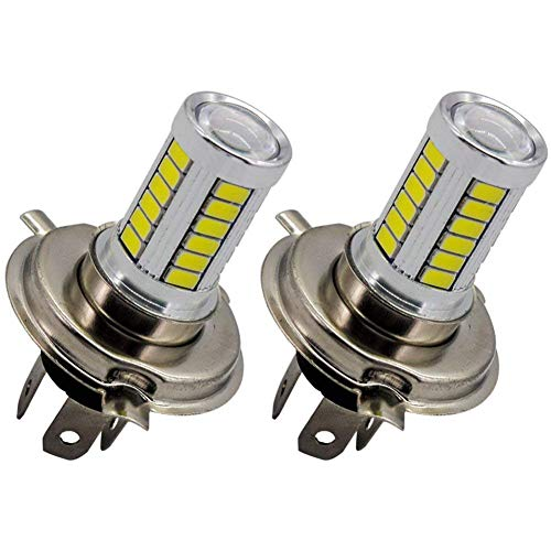 H4 9003 HB2 Fog Light Bulb LED White Daytime Running Driving Lights DRL 33 SMD 5630 Chip with Projector 12V 6500K for Car Auto Motorcycle Motorbike(Pack of 2)