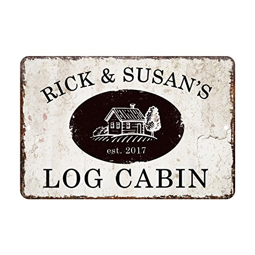 Personalized Vintage Metal Cabin Wall Sign
