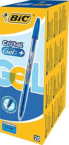 BIC Cristal Gel+ bolígrafos punta media (0,7 mm), caja de 20 unidades,...