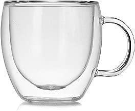 ZSHRYLL 250 مل كوب زجاجي مزدوج مع مقبض فنجان قهوة حليب شاي حليب عصير شرب كوب