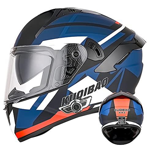 Casco integral Bluetooth integrado para motocicleta D.O.T con Visera antivaho doble Casco de protección para adultos Cascos abatibles para hombres y mujeres (Tormenta rojo-azul) (55~57cm M)