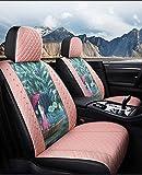 YGLight Asiento de coche cubierta del airbag compatible Full Set - 5-asiento de coche cubierta del asiento delantero y trasero antideslizante resistente al desgaste respirable de lino del amortiguador