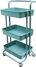 Beaugreen 3-Tier Rolling Cart Storage Shelves Metal Utility Storage Trolley with Handles Wheels for Kitchen Bathroom Office (Turquoise)