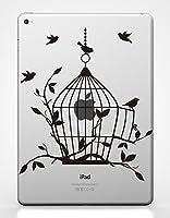 カインドストア 9.7インチ iPad Pro iPad Air 2 アイパッド ステッカー シール 鳥かご 鳥 開いている鳥かご フリー オープン バード ケージ ブラック M734