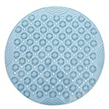 MIS1950s Shower Foot Massager Scrubber Non-Slip Comfy Massage Pad for Bathroom Strong Suction Cup Floor Shower Mat 55X55CM (Blue)
