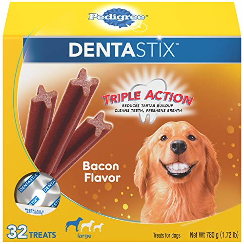 PEDIGREE DENTASTIX Large Dog Dental Treats Bacon Flavor Dental Bones, 1.72 lb. Pack (32 Treats)