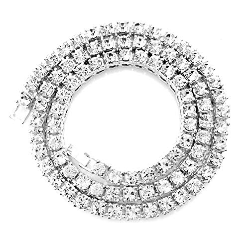 HH Bling Empire Unisex Iced Out Hip Hop Silver Gold Artificial Diamond cz Tennis Chain 5mm width16 18 20 22 24 30 Inches (1 Row - Silver, 20)