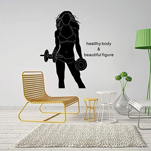 Mancuerna mujer salud y belleza niña decoración de la habitación personalidad etiqueta de la pared tallada 42x42cm