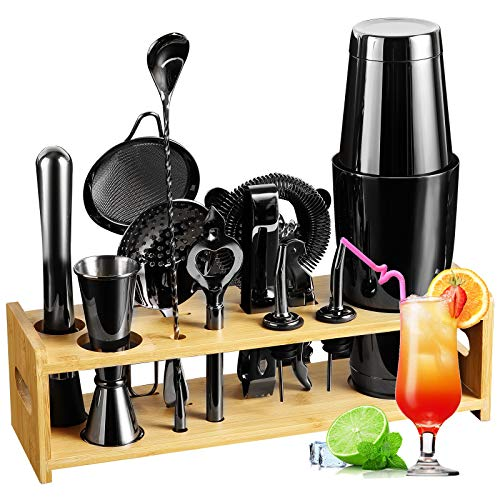 Cocktail Shaker Set Bartender Kit, 14 PCS Cocktail Shaker Stainless Steel Bar Tool Set with Stylish Bamboo Stand | Best Gifts for Drink Mixing Experience