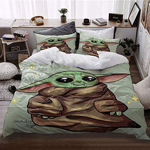 GD-SJK Amacigana Star Wars Baby Yoda - Juego de ropa de cama, impresión digital 3D, 100% poliéster, ropa de cama infantil, diseño de Star Wars