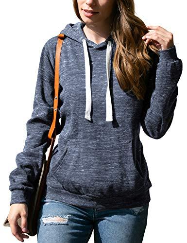 Doublju Basic Lightweight Pullover Hoodie Sweatshirt for Women MMIDNIGHTBLUE Medium