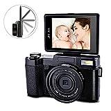 SEREE HD Digital Camera Camcorder Full HD 1080p 24.0 Megapixels 4x Digital Zoom 3 Inch LCD Screen Flashlight … (black1)