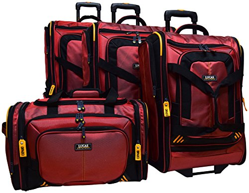 Lucas Accelerator 4 Pc Collection Luggage Wheeled Suitcase Set 22 26 & 30-inch And 20-inch Carry On Sized Duffel Bag (Red)