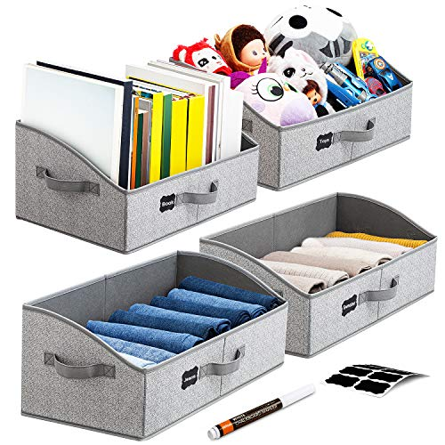 Artsdi Set of 4 Large Capacity Storage Bins and Baskets with Handles Closet Shelf Organizer Bin Foldable Trapezoid Storage Box for ShelvesClothesBaby ToiletryToysTowelDVDBook JumboGray