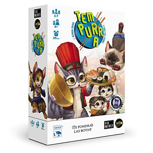 TCG Factory Tempurra Juego de cartas en español, familiar y para niños; partidas rápidas y ágiles al estilo del famoso UNO o el Virus, ¡pero con gatitos y sushi!