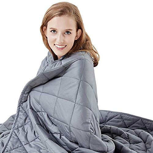 """Hypnoser Weighted Blanket Twin Size 15 lbs 48""""x72"""" for Kids and Adults 