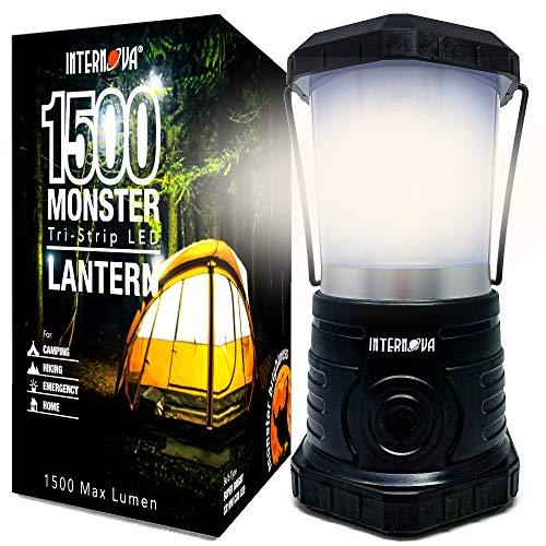 Internova Monster LED Camping Lantern - Battery Powered - Massive Brightness - Perfect for Hurricane - Camp - Emergency Kit (Black 1500 Lumen Battery Powered Model)