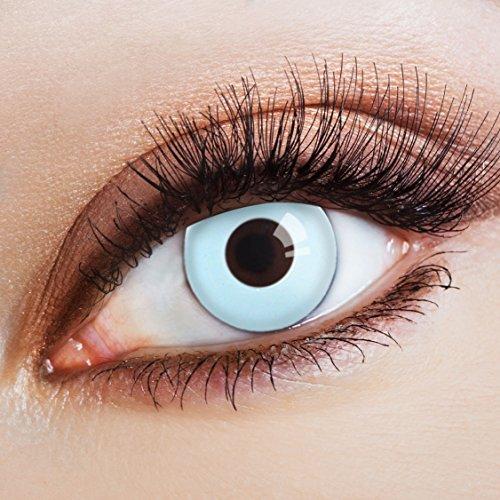 aricona Kontaktlinsen - Hellblaue Kontaktlinsen Farblinsen ohne Stärke - Farbige Kontaktlinsen deckend für Karneval, Fasching, Cosplay, Kostüm-Partys, 2 Stück