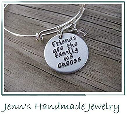 Hand-Stamped Bangle Braceletyou are the sister I got to choose with your choice of bead