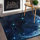 Naanle Galaxy Moon Area Rug 5'x7', Planet Earth in Space Polyester Area Rug Mat for Living Dining Dorm Room Bedroom Home Decorative