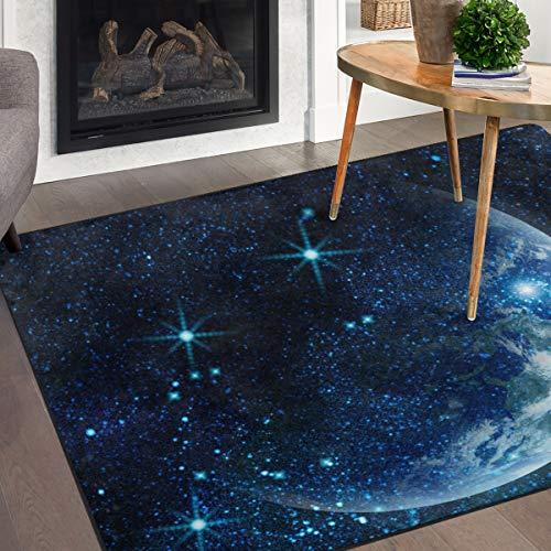 Naanle Galaxie-Mond-Teppich, Planet Erde im Weltraum, Polyester, Teppich für Wohnzimmer, Esszimmer, Schlafzimmer, Heimdekoration, Polyester, multi, 5'X7'