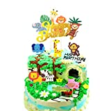 Gold Glitter Jungle Safari Animal Cake Toppers Decorations Wild One Cupcake Toppers Food Picks for Kids Boys Girls ,Zoo Animal Party,Forest Animal ,Birthday Party,Baby Shower Decorations