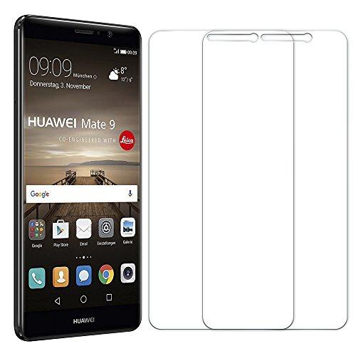 Senisttech Panzerglas Schutzfolie für Huawei Mate 9 - [2 Stück] 9H Festigkeit Bildschirmschutzfolie,99prozent Transparenz,3D Touch Kompatibel,Anti-Fingerabdruck Panzerglasfolie für Huawei Mate 9