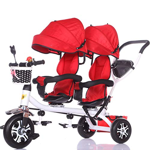 LOMJK Carritos y sillas de Paseo Carro de bebé Triciclo Doble for niños Carro de Bicicleta Doble for bebé Carrito Grande Cochecito extendido Cesta de Almacenamiento de toldo Bebé Sillas de Pase