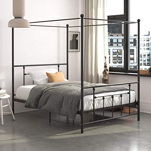 DHP Manila Metal Canopy, Full Size Frame, White Bed