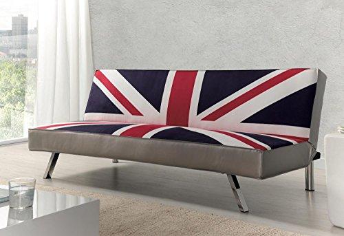 Due-Home - Sofa Cama Clic-clac, Patas cromadas, Acabado en Estampado Bristish, Medidas: 180 85 83cm