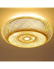 Bamboe Plafondlamp Natuurlijke Rotan Hanglamp Plafondlamp Creatieve Handgemaakte Lampenkap Kroonluchter E27 Plafondverlichting Restaurant Slaapkamer Woonkamer Cafe Bar Studie Kantoor Theehuis,40cm