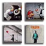 Quadri Moderni stile BANKSY murales 4 pezzi 30x30 cmStampa su Tela CANVAS Arredamento Arte Astratto XXL Arredo soggiorno salotto camera da letto cucina ufficio bar ristorante