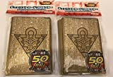 (100) YU-GI-OH Card Deck Protectors Millenium Puzzle Golden Card Sleeves 100 Pcs 63X90mm