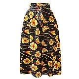 Falda Para Mujer,Amarillo Con Estampado De Flores Abstractas,Cintura Alta,Corbata En La...