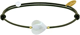 Les Poulettes Bijoux - Bracelet Petit Coeur de Nacre et Perle Plaqué Or - Classics