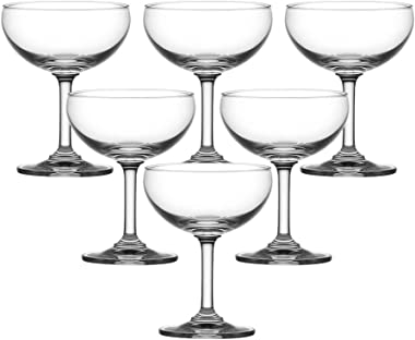 Ocean Classic Saucer Champagne Glass Set, 200ml, Set of 6, Clear