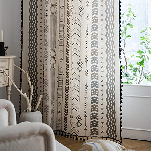 Lahome Boho Living Room Curtains 84 Inch Length 2 Panels Set, Tribal Tassel Farmhouse Cotton Linen Curtain & Drapes, Rod Pocket Semi-Blackout Country Style Window Treatment for Bedroom Dining Kitchen