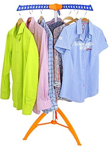 Made for us® Bügelwäscheständer mit 3 ausklapparen Kleiderhaken für 36 Bügel Blusen oder Hemden platzsparend, Wäschetrockner Wäscheständer Garderobenständer Kleiderständer klappbar