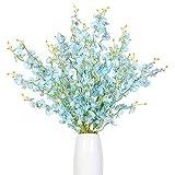Kisflower 12Pcs Flores de orquídeas Artificiales Flores de orquídeas Falsas de Seda Ramo de Flores para la decoración del hogar (Azul)