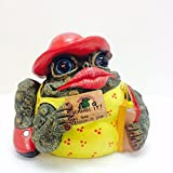 Homestyles Toad Hollow #94732 Figurine Shop Till You Drop Shopper with Credit Card and Shopping Bags in a Red Hat Medium 7.0' h Garden Statue Toad Figure Natural Green