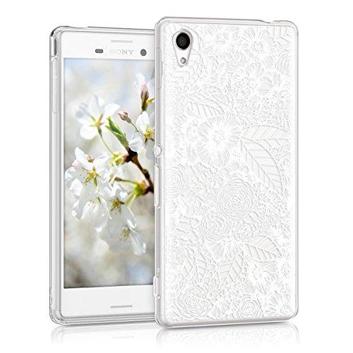 kwmobile Sony Xperia M4 Aqua Hülle - Handyhülle für Sony Xperia M4 Aqua - Handy Case in Blumenmeer Design Weiß Transparent