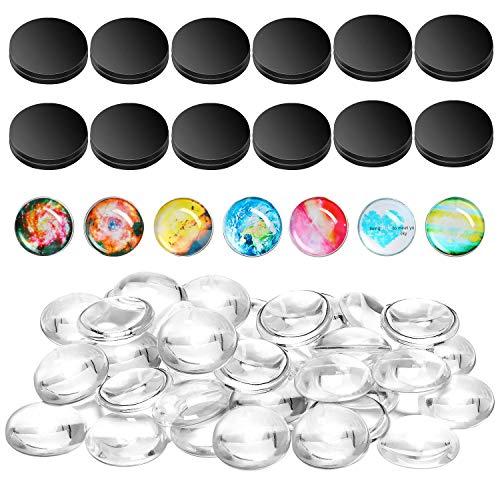 Fridge Magnets Craft Set Refrigerator Craft Magnets Round Disc Ferrite Ceramic Magnets with Transparent Glass Cabochons for DIY Fridge Magnet Craft Making Adhesive Backing (40)