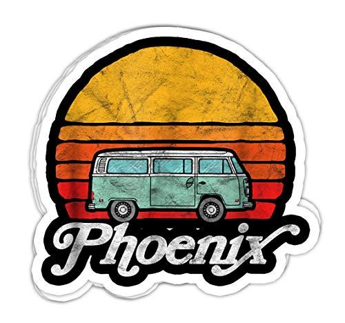 Phoenix Arizona Vintage Hippie Van Surf Style Sun - 4x3 Vinyl Stickers, Laptop Decal, Water Bottle Sticker (Set of 3)