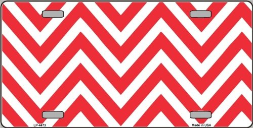 Red | White Large Chevron Print Blank Metal License Plate Tag Sign Blanks