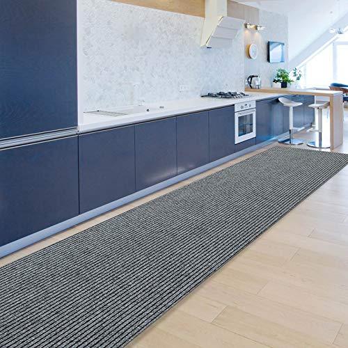 Floordirekt Küchenläufer Granada | Teppich-Läufer auf Maß für die Küche | Breite: 80 cm, viele Farben | Moderne & hochwertige Wohnteppiche (Grau, 80 x 150 cm)