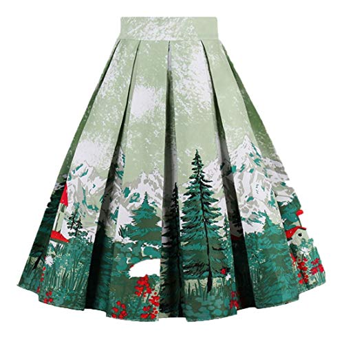 OBBUE Dresstore Vintage Pleated Skirt Floral A-line Printed Midi Skirts with Pockets Christmas-Tree-L