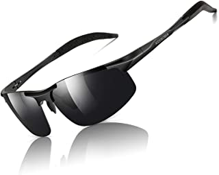 AISSWZBER Mens Sports Polarized Sunglasses Driving Metal Frame UV Protection Sunglasses For Men 8177