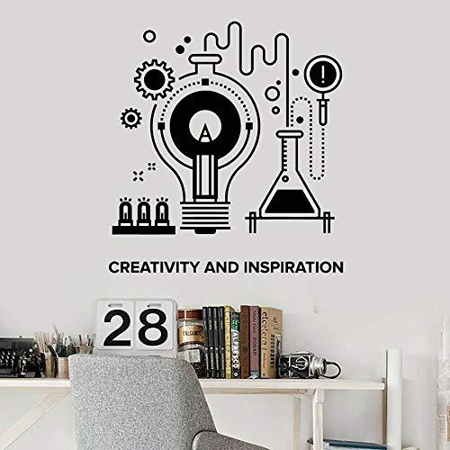Tianpengyuanshuai Chemie Experiment Wandtattoo kreative Inspiration Schriftzug Vinyl Aufkleber Schule Klassenzimmer Lerndekoration 85X91cm