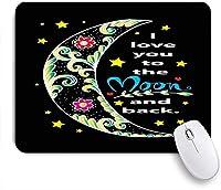 KAPANOUマウスパッド 愛のレタリング描かれたシンプルな月のタイポグラフィバック抽象的な黒の輪郭日描画タグ ゲーミング オフィ良い 滑り止めゴム底 ゲーミングなど適用 マウス 用ノートブックコンピュータ